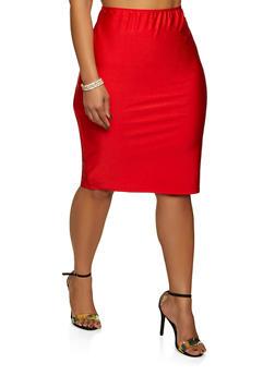 Plus Size Spandex Pencil Skirt - 8444020623958