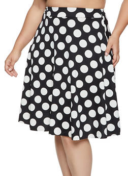Plus Size Polka Dot Skater Skirt - 8444020624003