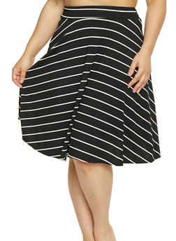 Womens Plus Size Black Stripe Skirts