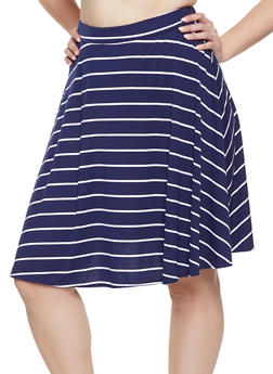 Plus Size Striped Skater Skirt - 8444020624044