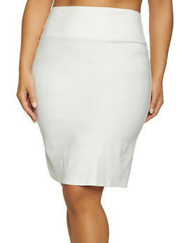 Plus Size Back Slit Stretch Pencil Skirt - 8444020624256