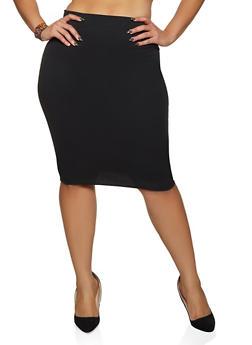 Plus Size Textured Knit Pencil Skirt - 8444020624439