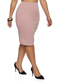 Plus Size Textured Knit Pencil Skirt - 8444020624439