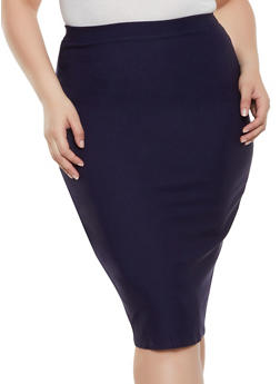 Plus Size Stretch Solid Pencil Skirt - 8444020624459