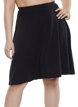 Plus Size Black High Low Skirt
