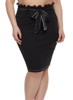 Plus Size Contrast Stitch Pencil Skirt - 8444020624488