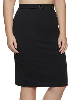 Plus Size Tabbed Waist Pencil Skirt - 8444020624491