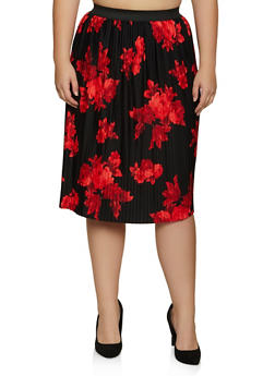 Plus Size Floral Pleated Skirt - 8444020624497