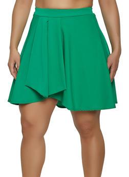Plus Size Crepe Knit Skater Skort - 8444020624727