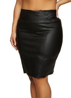 Plus Size Faux Leather Midi Skirt - 8444020624905