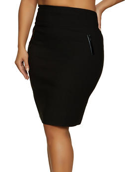 Plus Size Stretch Back Slit Pencil Skirt - 8444020624914