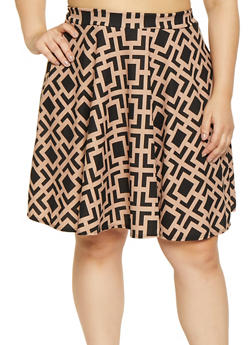 Plus Size Geometric Print Skater Skirt - 8444020624948