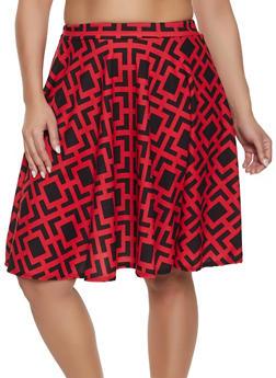 Plus Size Geometric Print Skater Skirt - 8444020624948