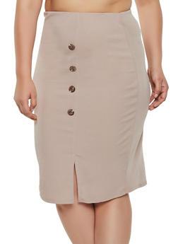 Plus Size Button Detail Pencil Skirt - 8444020624955