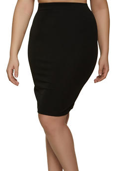 Plus Size Crepe Knit Pencil Skirt - 8444020625239