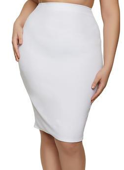Plus Size Crepe Knit Pencil Skirt - 8444020625239