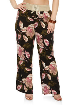 Plus Size Lace Up Floral Pants - MUSTARD - 8444020626022