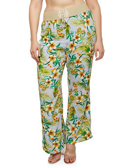 Plus Size Lace Up Floral Pants - BLUE - 8444020626022
