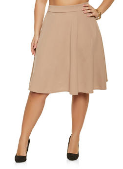 Plus Size Textured Knit Skirt - 8444020626335