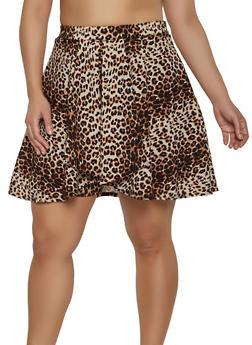 Plus Size Leopard Print Skort - Brown - Size 1X - 8444020626380