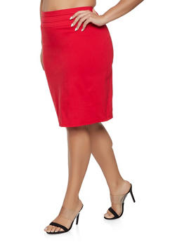 Plus Size Triple Seam Pencil Skirt - 8444020626445