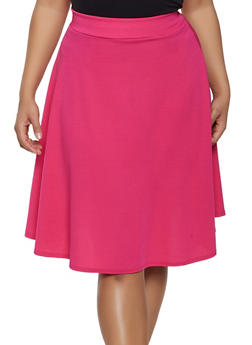 Plus Size Solid Textured Knit Skater Skirt - 8444020626740