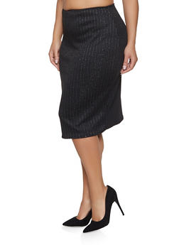 Plus Size Striped Shimmer Knit Pencil Skirt - 8444020626831