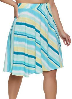 Plus Size Diagonal Stripe Skater Skirt - 8444020627864