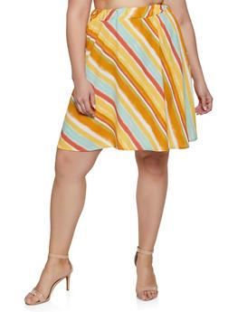 34098e90ab376 Plus Size Diagonal Stripe Skater Skirt - 8444020627864