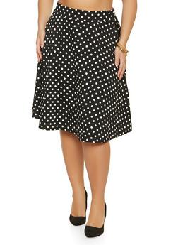 Plus Size Polka Dot Skirt - 8444020628084