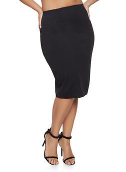 Plus Size Crepe Knit Pencil Skirt - 8444020628095