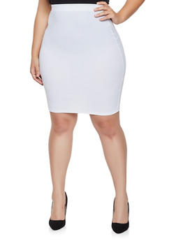 Plus Size Crepe Knit Pencil Skirt - 8444020628095