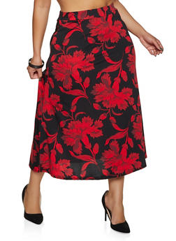 Plus Size Floral Midi Circle Skirt - 8444020628127