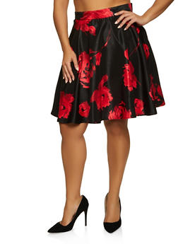 Plus Size Floral Circle Skirt - 8444020629098