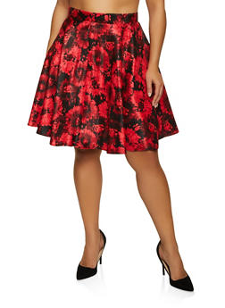 Plus Size Floral Circle Skirt - 8444020629098