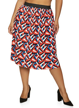 Plus Size Geometric Pleated Skirt - 8444020629116