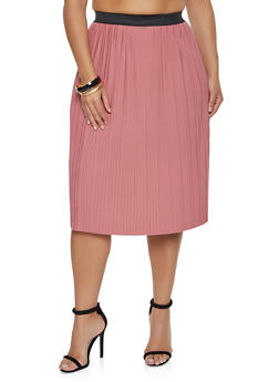 Plus Size Pleated Midi Skater Skirt - 8444020629117