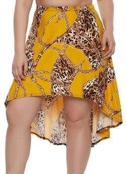 Plus Size Chain Print High Low Skirt - 8444020629274