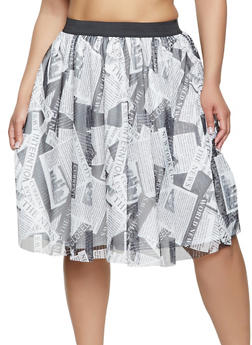 Plus Size Printed Mesh Skater Skirt - 8444020629297