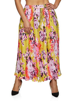 Plus Size Floral Pleated Maxi Skirt - 8444056124001