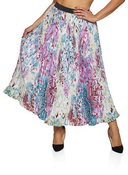 Plus Size Abstract Print Pleated Maxi Skirt - 8444056124002