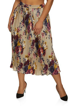 Plus Size Pleated Floral Skirt - 8444056124004