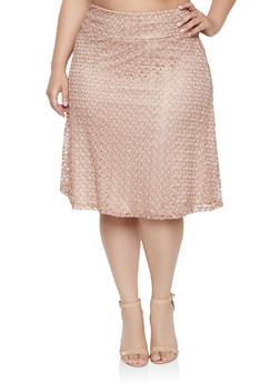 Plus Size Lace Skater Skirt - 8444062701873