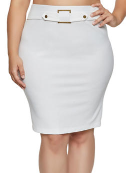 Plus Size Square Buckle Pencil Skirt - 8444062702711