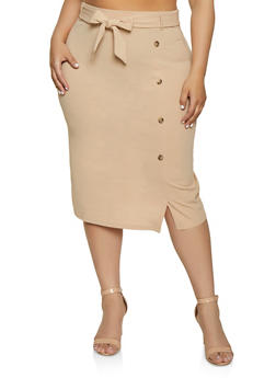 Plus Size Button Detail Tie Waist Pencil Skirt - 8444062702712