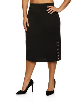 Plus Size Snap Rhinestone Button Skirt - 8444062702749