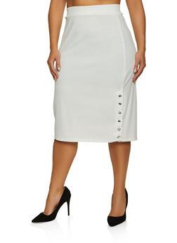 Plus Size Snap Rhinestone Button Skirt - 8444062702749
