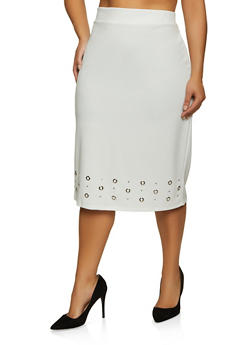 Plus Size Grommet Trim Midi Pencil Skirt - 8444062702750