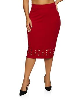 Plus Size Grommet Trim Midi Pencil Skirt - 8444062702750
