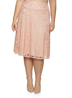 Plus Size Lace Midi Skater Skirt - 8444062702755
